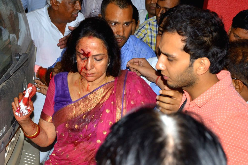 Actress and BJP MP Hema Malini being taken to hospital in a in Jaipur on July 2, 2015 after being injured in an car accident near Dausa.