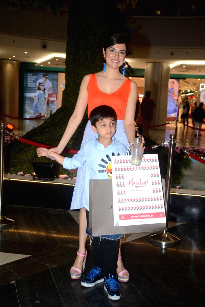 Actress and director, Divya Khosla Kumar along with her son Ruhaan Kumar seen at a mall in Mumbai on May 11, 2018. - Divya Khosla Kumar and Ruhaan Kumar