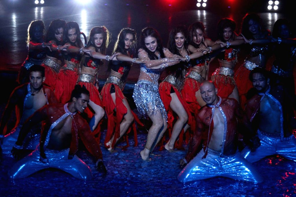Actress and host Amruta Khanvilkar performs during the Grand Finale of dance reality show Dance India Dance Season 6 in Mumbai on Feb 17, 2018.