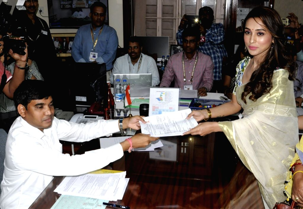 Actress and TMC's Lok Sabha candidate from Jadavpur, Mimi Chakraborty files nomination for the forthcoming Lok Sabha elections, in Kolkata on April 26, 2019. - Mimi Chakraborty