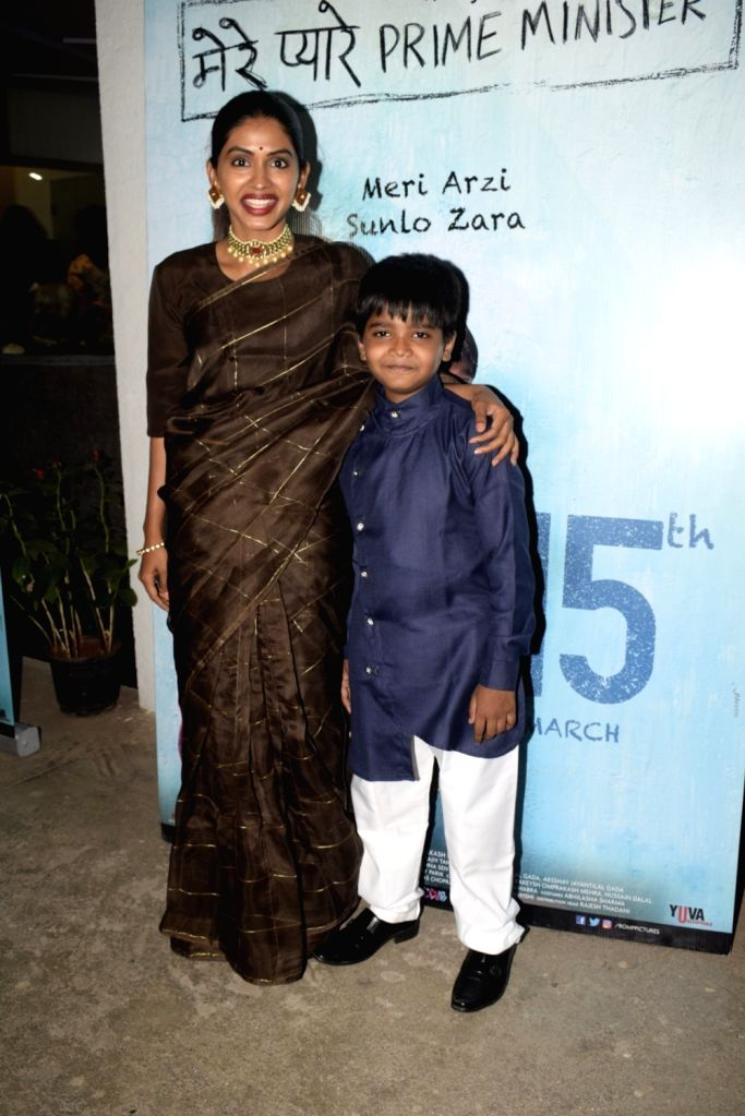 """Actress Anjali Patil with child actor Om Kanojiya at the screening of their upcoming film """"Mere Pyare Prime Minister"""" in Mumbai, on March 14, 2019. - Anjali Patil"""