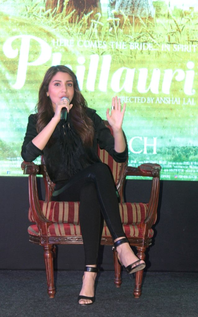 """Actress Anushka Sharma addresses during a press conference to promote her upcoming film """"Phillauri"""" in Bhopal, on March 10, 2017. - Anushka Sharma"""
