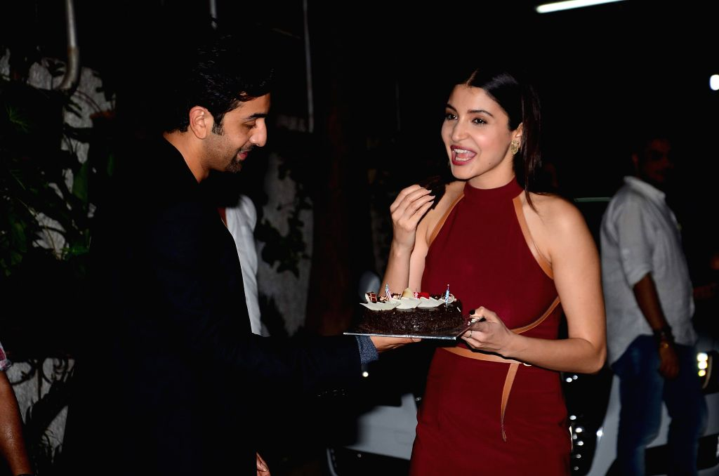 Actress Anushka Sharma and actor Ranbir Singh during the special screening of the movie `Bombay Velvet` on Anushka Sharma`s B`day in Mumbai on 1st May, 2015. Film Bombay Velvet is all set to release ... - Ranbir Singh
