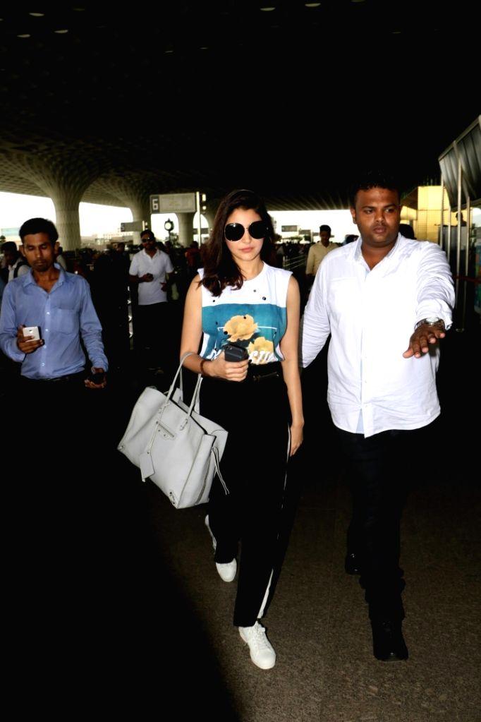 Actress Anushka Sharma spotted at Chhatrapati Shivaji Maharaj International airport in Mumbai on Aug 9, 2017. - Anushka Sharma