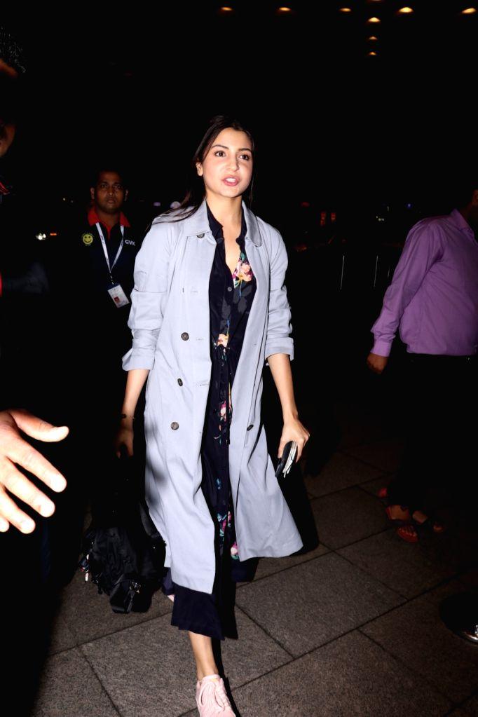 Actress Anushka Sharma spotted at Chhatrapati Shivaji Maharaj International airport in Mumbai on Sept 15, 2017. - Anushka Sharma