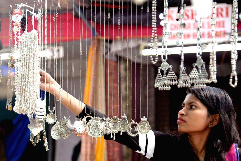"Actress Ashwini Gowda at the inauguration of ""Artisans Bazar"" at Chitrakala Parishath in Bengaluru on Jan 25, 2019. - Ashwini Gowda"