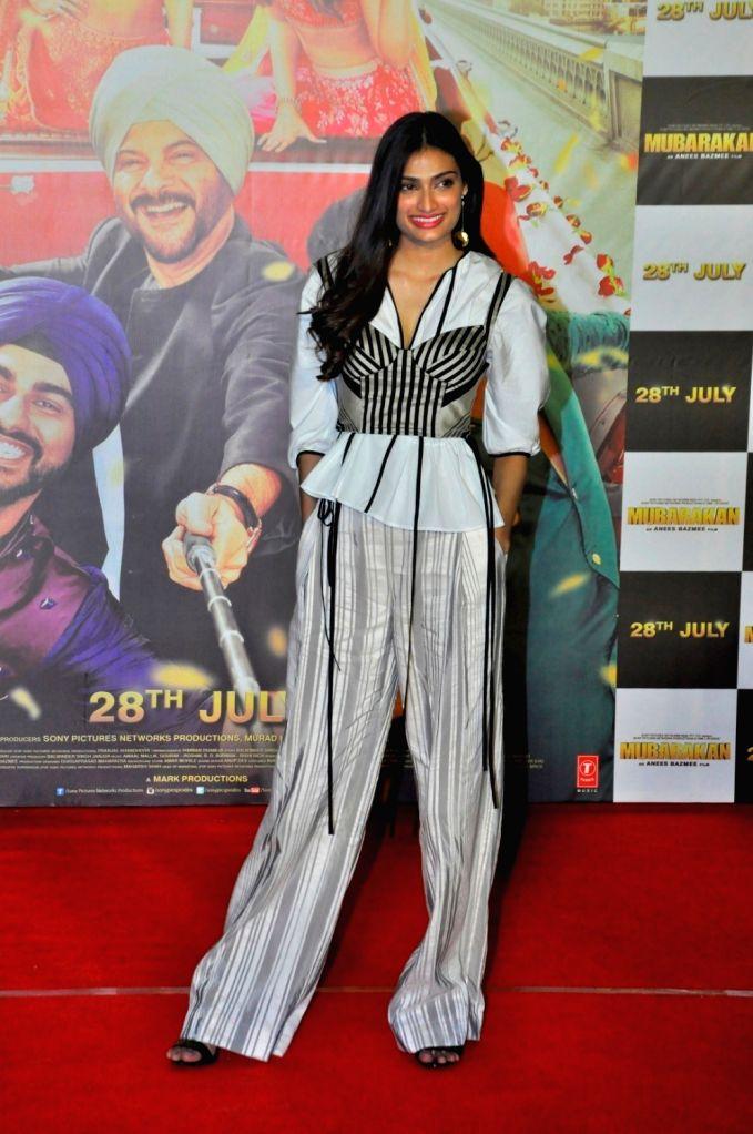 Actress Athiya Shetty at the trailer launch of upcoming film 'Mubarakan' in Mumbai on June 20, 2017. - Athiya Shetty