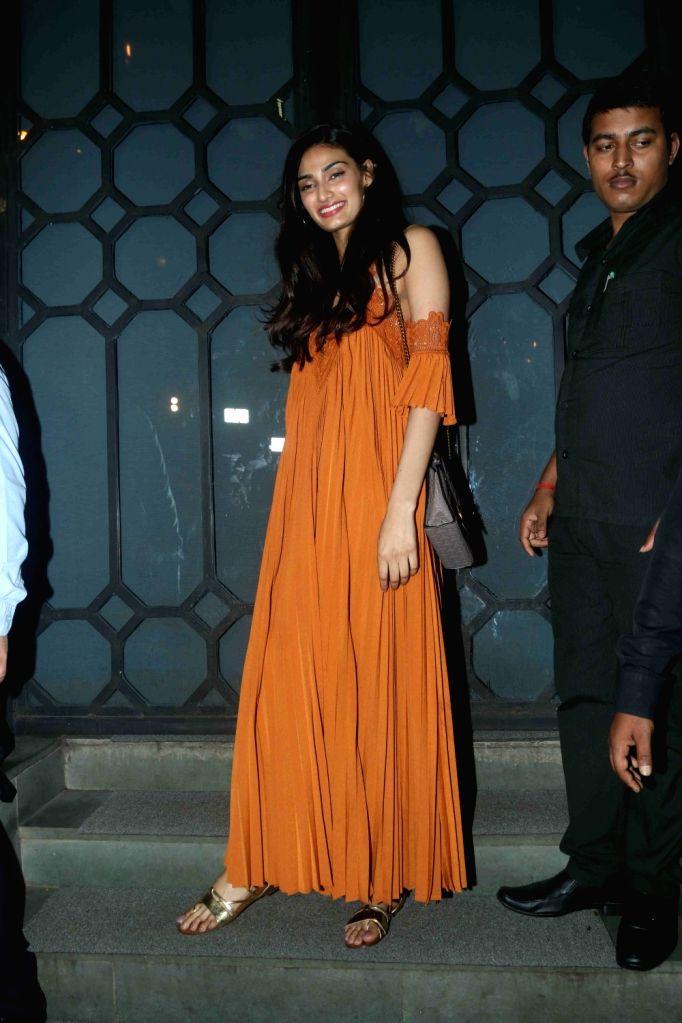 Actress Athiya Shetty during the birthday party of Rohini Iyer, MD, Raindrop Media in Mumbai on Aug 10, 2016. - Athiya Shetty