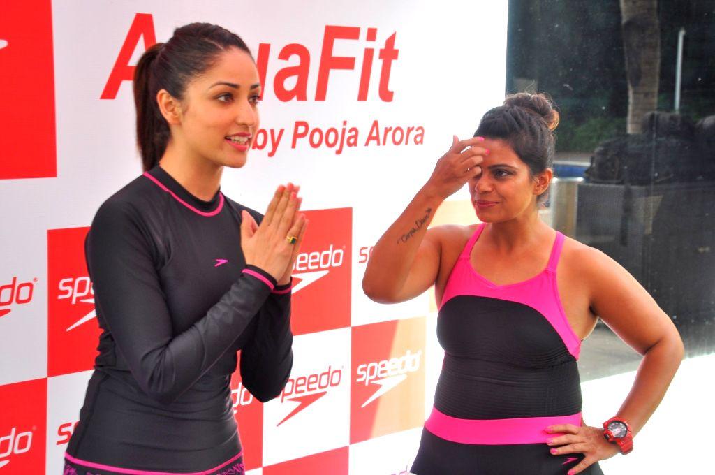 Actress AYami Gautam practice Speedo Aquafit-Vertical underwater fitness training program in Mumbai, on June 21, 2017. - A