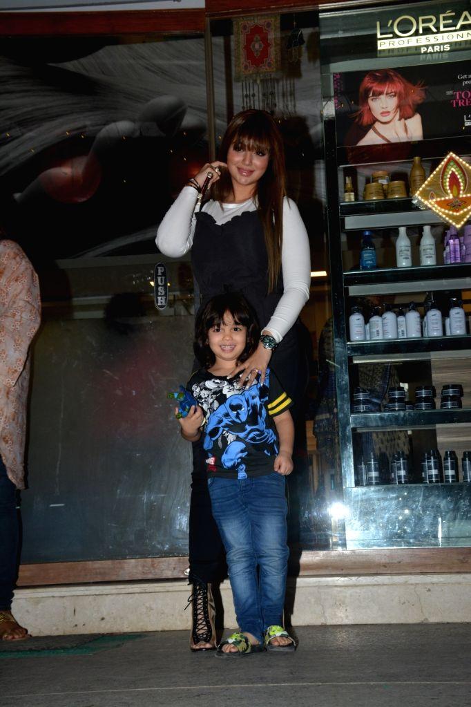 Actress Ayesha Takia and her son Mikail Azmi seen in Mumbai's Bandra on Oct 31, 2018. - Ayesha Takia