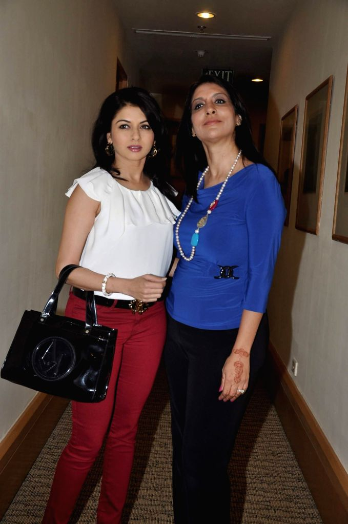 """Actress Bhagyashree and Kavita Raha, Founder and CEO, Pink Platform during the announcement of the forthcoming panel discussion of """"Domestic Abuse & Battered Women Responsibility & ... - Bhagyashree"""