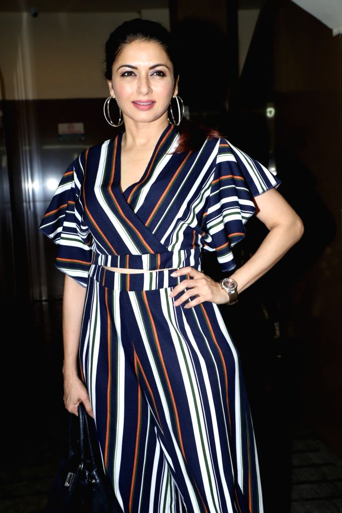 "Actress Bhagyashree at the screening of the upcoming Marathi film ""Prawaas"" in Mumbai on Feb 11, 2020. - Bhagyashree"