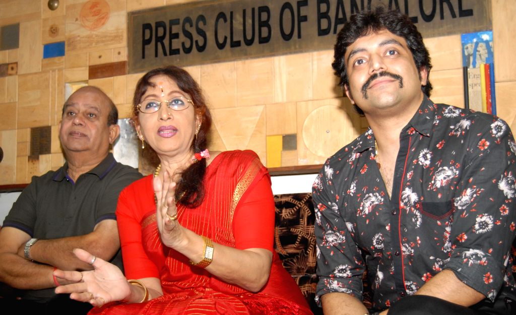 Actress Bharathi Vishnuvardhan addresses a press conference at Press club regarding a weekend serial camp in Bangalore on Aug 4, 2014.