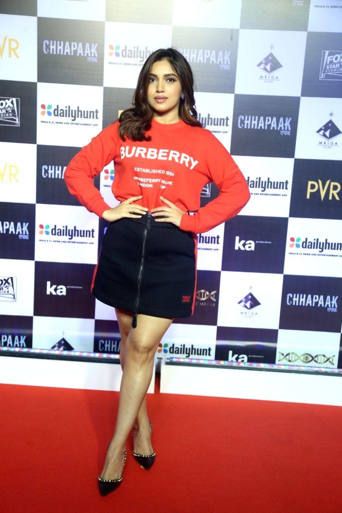 "Actress Bhumi Pednekar at the screening of the film ""Chhapaak"" in Mumbai on Jan 8, 2020. - Bhumi Pednekar"