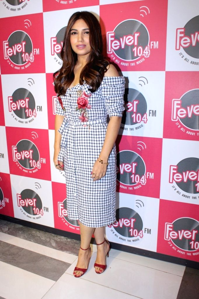 """Actress Bhumi Pednekar during the promotion of the song 'Kanha' from her upcoming film """"Shubh Mangal Savdhan"""" at Fever 104 FM station in Mumbai on Aug 17, 2017. - Bhumi Pednekar"""