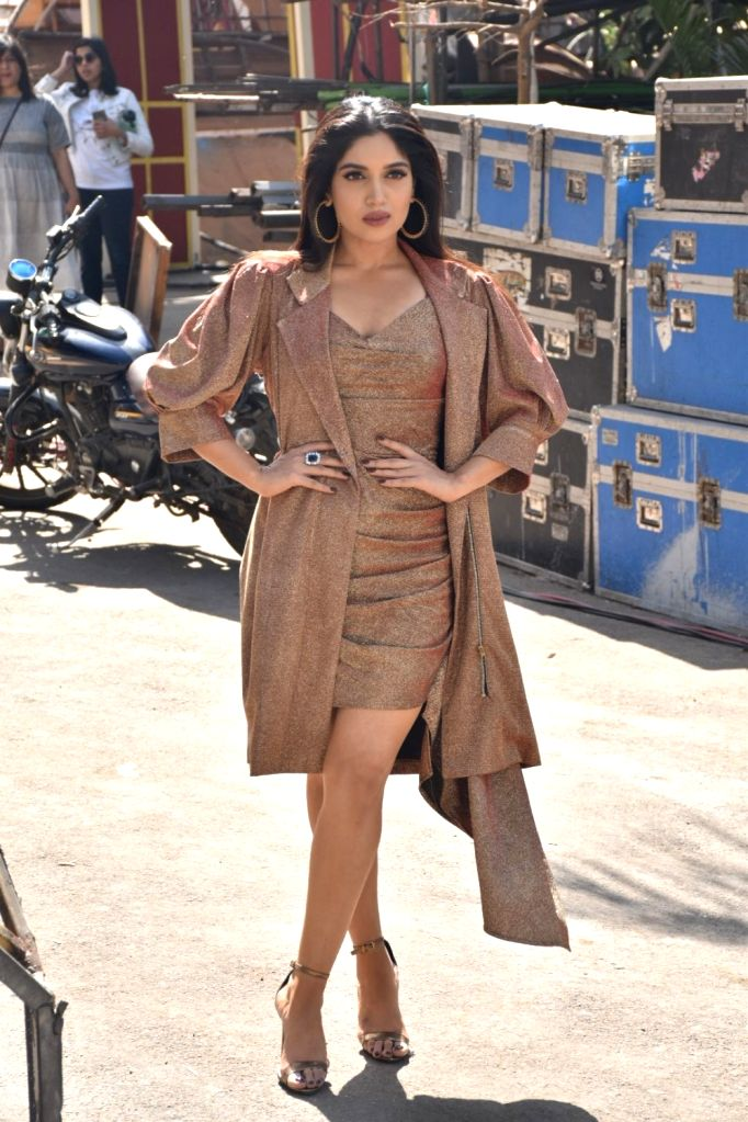 "Actress Bhumi Pednekar on the sets of ""Super Dancer 3"" to promote her upcoming film ""Sonchiraiya,"" in Mumbai, on Feb 25, 2019. - Bhumi Pednekar"