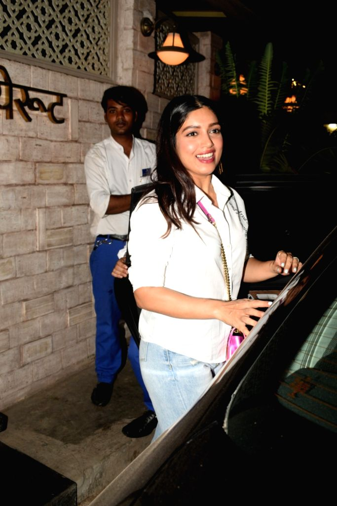 Actress Bhumi Pednekar seen in Mumbai's Juhu, on April 24, 2019. - Bhumi Pednekar