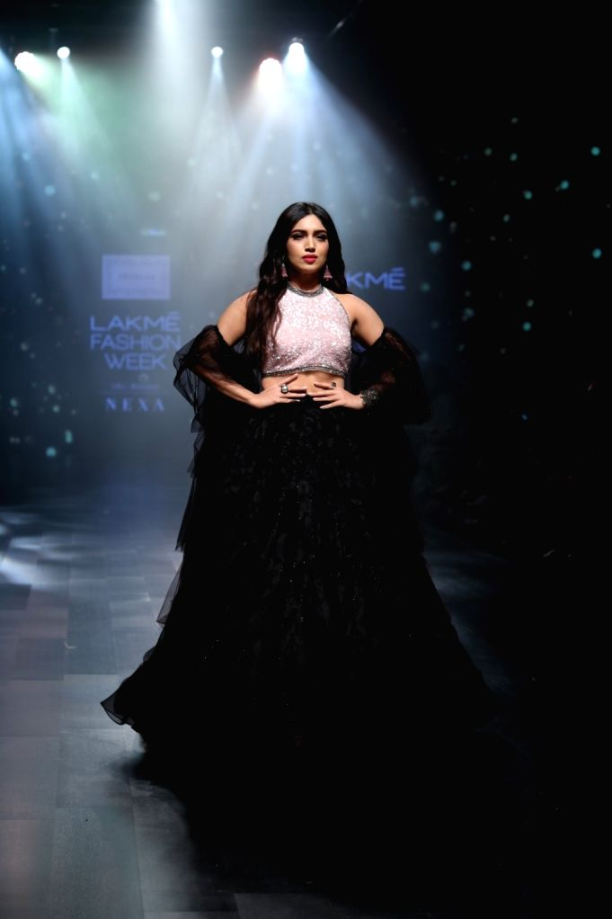 Actress Bhumi Pednekar walks the ramp in fashion designer Shehla Khan's creation during Lakme Fashion Week (LFW) Summer/Resort 2019 in Mumbai, on Feb 3, 2019. - Bhumi Pednekar and Shehla Khan