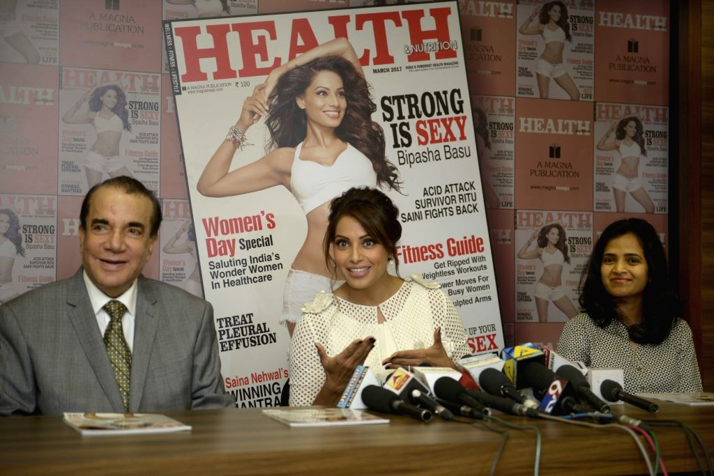 Actress  Bipasha Basu during the unveiling of the March 2017 issue of Health & Nutrition magazine in Mumbai on March 23, 2017. - Bipasha Basu