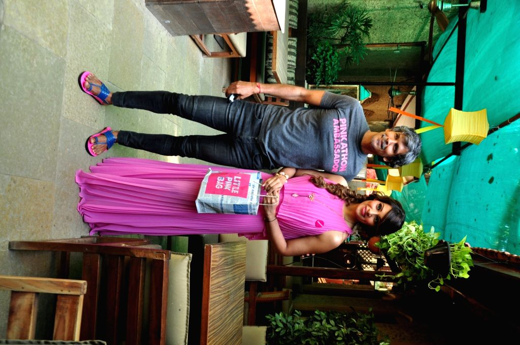 Actress Bipasha Basu with Pinkathon Founder and actor Milind Soman at Mumbai SBI Pinkathon press announcement in Mumbai, on Nov 19, 2015.