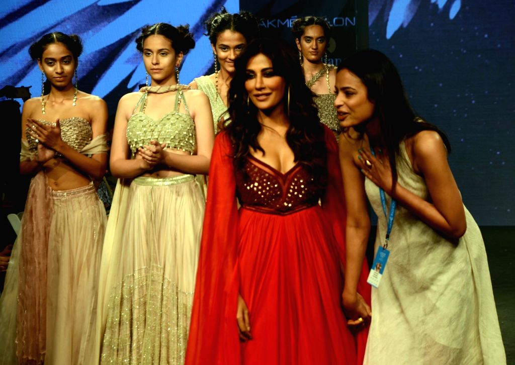 Actress Chitrangada Singh along with fashion designer Anjali Verma during Lakme Fashion Week (LFW) Summer/Resort 2019 in Mumbai on Feb. 2, 2019. - Chitrangada Singh