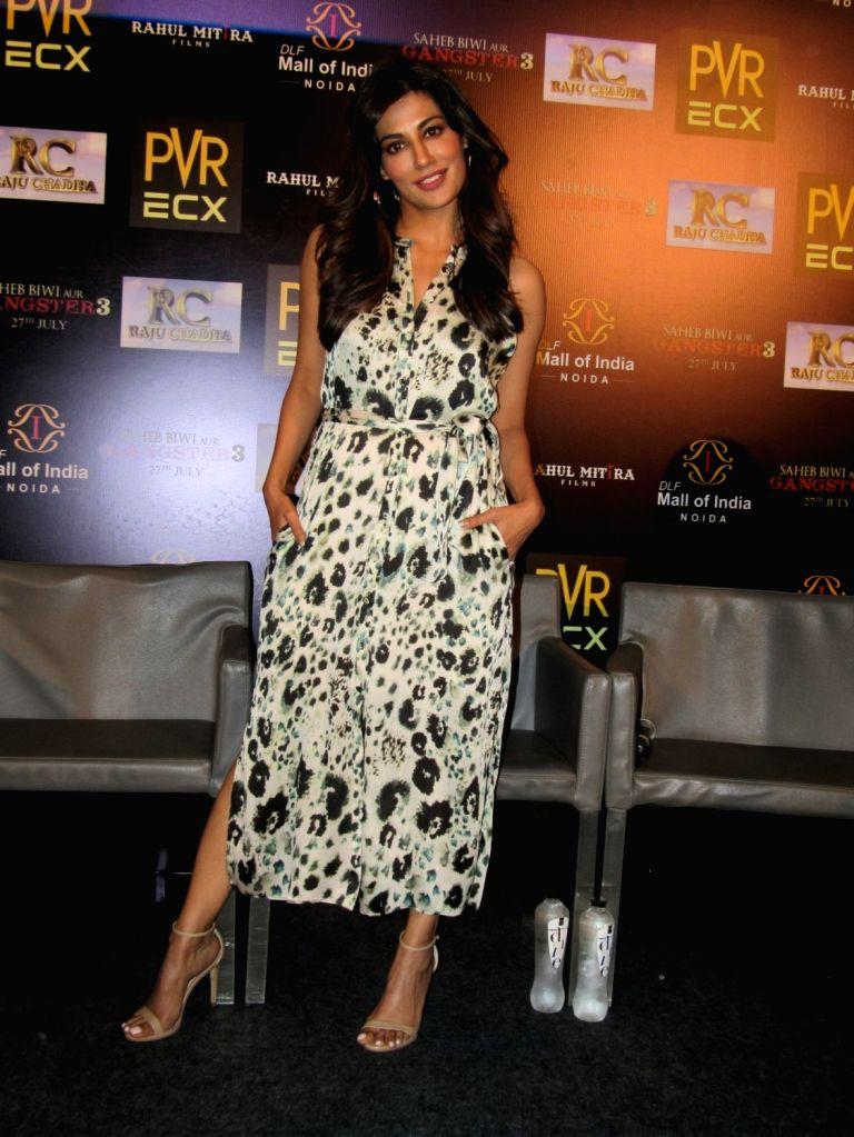 """Actress Chitrangada Singh during the promotion of her upcoming film """"Saheb Biwi Aur Gangster 3"""" in Noida on July 25, 2018. - Chitrangada Singh"""