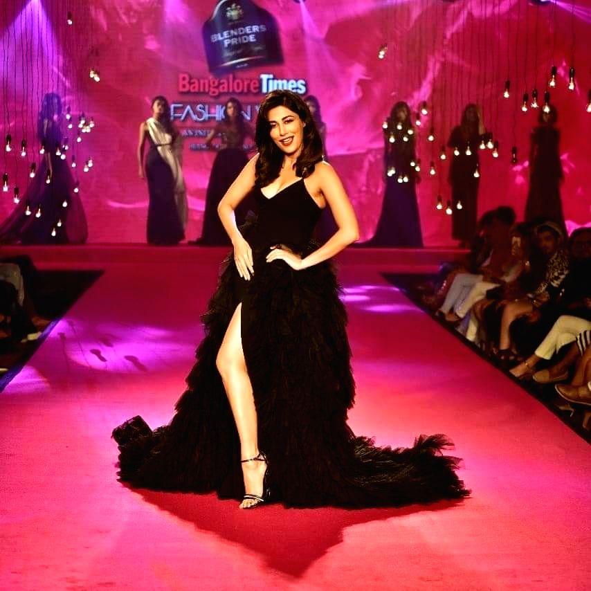 Actress Chitrangda Singh showcases fashion designer duo Gauri-Nainika's creation at the Bangalore Times Fashion Week. - Chitrangda Singh