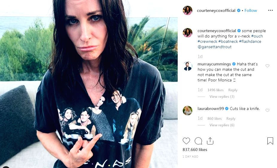 """Actress Courteney Cox owns merchandise from her hit show """"Friends"""", and likes to wear a T-shirt with an image of the whole cast on it. - Courteney Cox"""