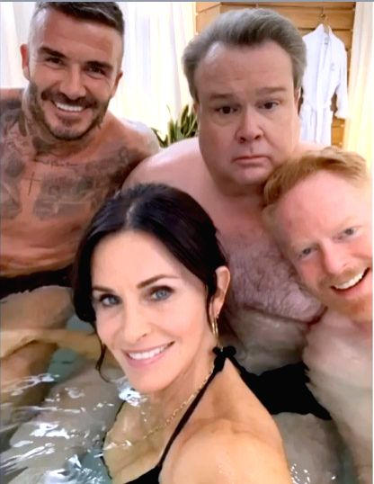 "Actress Courtney Cox posted two photographs on social media with former football superstar David Beckham on the set of ""Modern Family"", and this has ""confused"" her ""Friends"" co-actor Jennifer Aniston. - Courtney Cox"