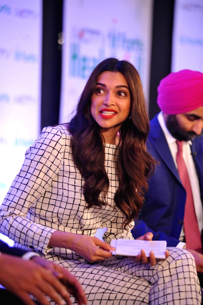 Actress Deepika Padukone at the launch of `NDTV Fortis Health4U` campaign in Mumbai on Sept 12, 2014. - Deepika Padukone