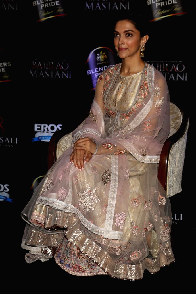 Actress Deepika Padukone during a press conference to launch the song `Deewani Mastani` from the upcoming film Bajirao Mastani, in Gurgaon on Oct 17, 2015. - Deepika Padukone