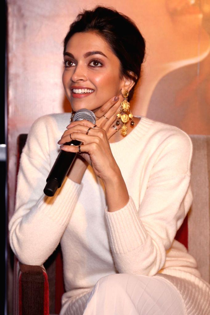 "Actress Deepika Padukone during a press conference to promote her upcoming film ""Tamasha"" in New Delhi, on Nov 23, 2015. - Deepika Padukone"