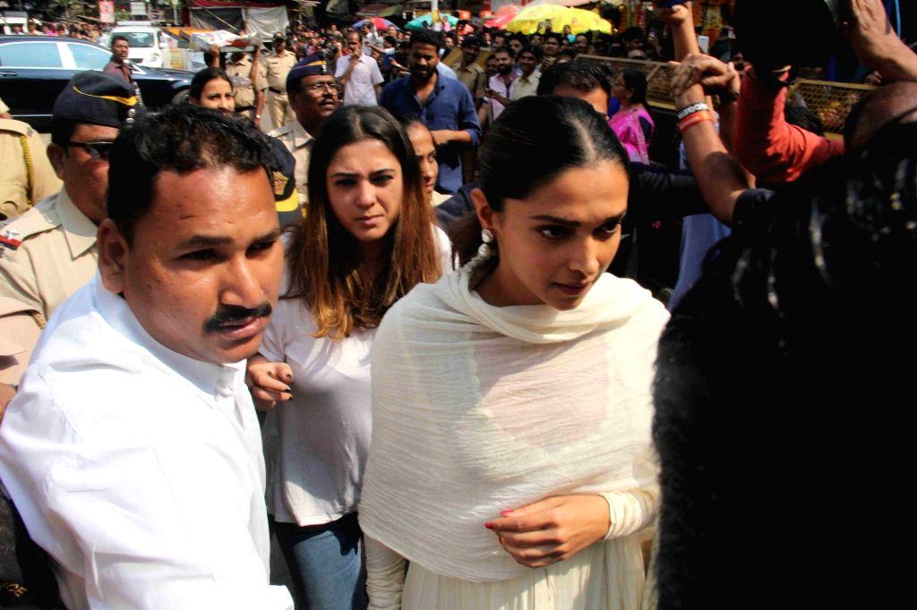 Actress Deepika Padukone during a visit to Siddhivinayak temple in Mumbai on Jan 23, 2018. - Deepika Padukone