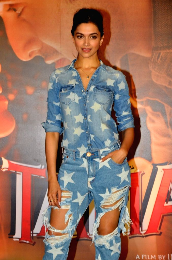 Actress Deepika Padukone during the promotion of film Tamasha in Mumbai on Nov 18, 2015. - Deepika Padukone