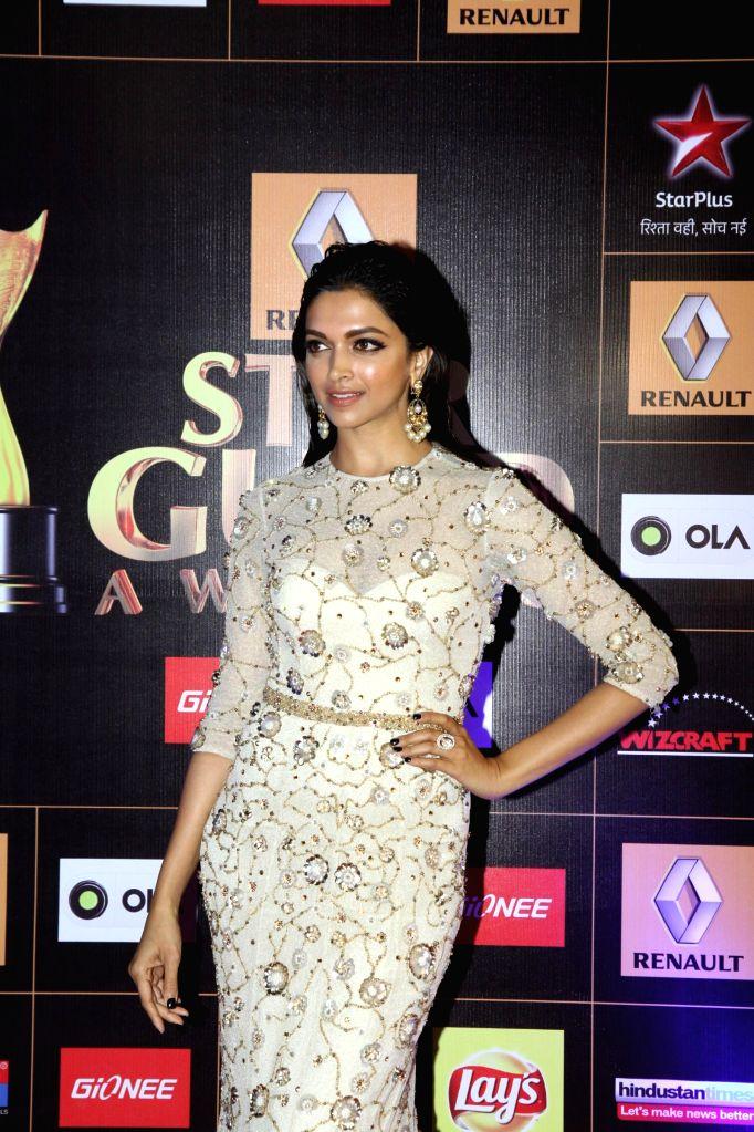 Actress Deepika Padukone during the Star Guild Awards 2015 in Mumbai on Jan 11, 2015. - Deepika Padukone