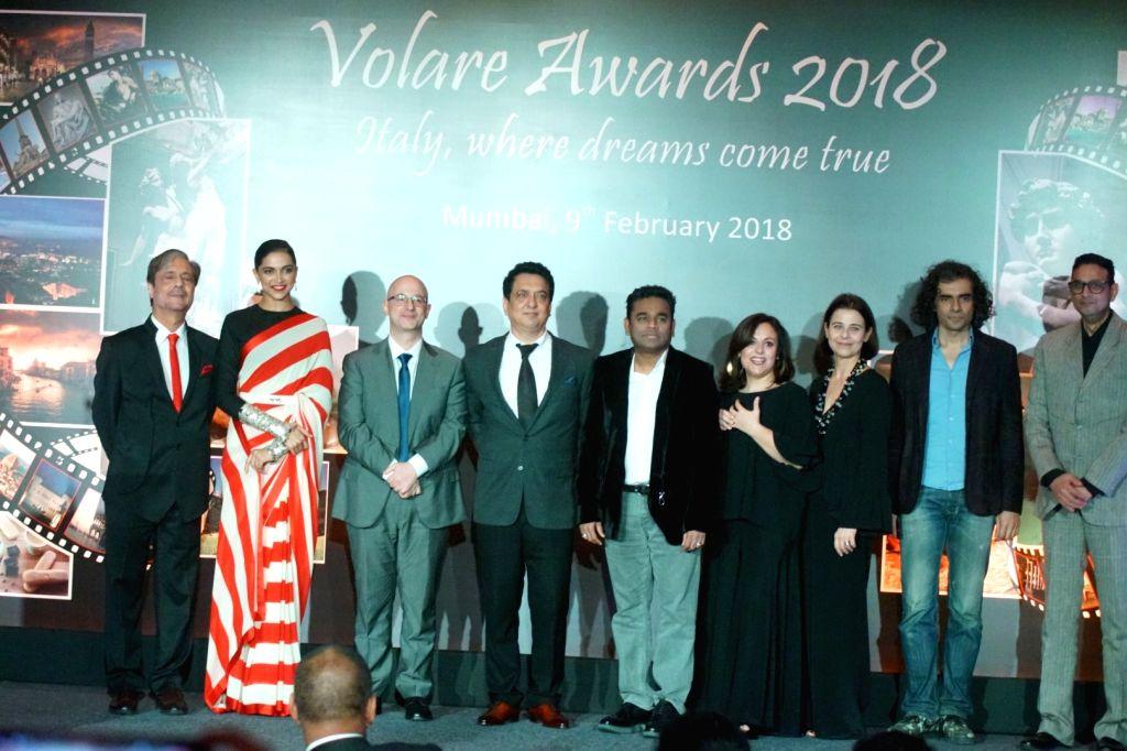 Actress Deepika Padukone, Oscar-winning composer A.R. Rahman, filmmaker Imtiaz Ali and producer Sajid Nadiadwala at the red carpet of Volare Awards 2018 in Mumbai on Feb 9, 2018. - Deepika Padukone