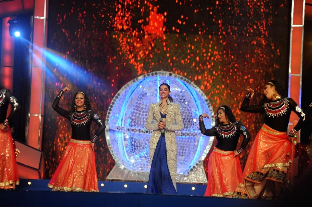 Actress Deepika Padukone performs during the Umang Mumbai Police Show 2016 in Mumbai, on Jan 19, 2016. - Deepika Padukone