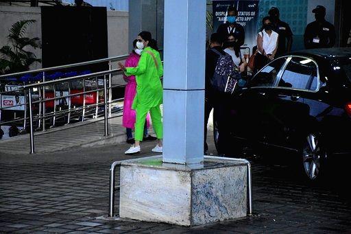 Actress Deepika Padukone seen at the Chhatrapati Shivaji International Airport in Mumbai on Sep 11, 2020. - Deepika Padukone