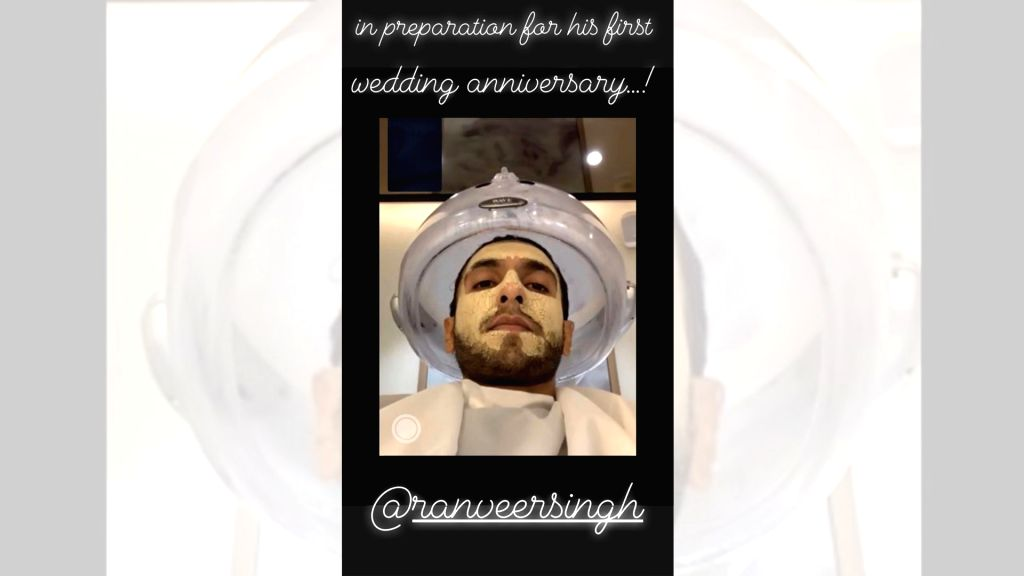 "Actress Deepika Padukone shared a glimpse of her actor husband Ranveer Singh's beauty preparations for their first wedding anniversary. Deepika took to her Instagram stories, where she posted a photograph of the ""Gully Boy"" star getting beauty treatm - Deepika Padukone and Ranveer Singh"