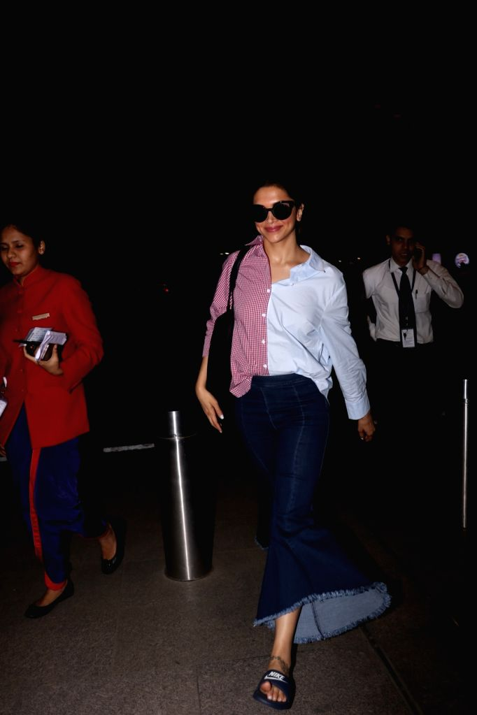 Actress Deepika Padukone spotted at Chhatrapati Shivaji Maharaj International airport in Mumbai on Aug 17, 2017. - Deepika Padukone