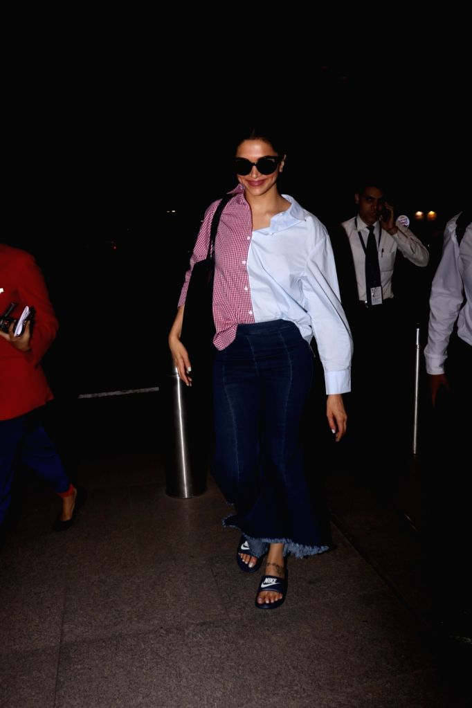 Actress Deepika Padukone spotted at Chhatrapati Shivaji Maharaj International airport in Mumbai on Aug 17, 2017. - Deepika Padukone
