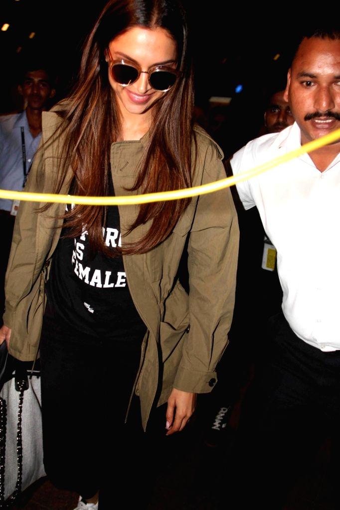 Actress Deepika Padukone spotted at the airport in Mumbai on March 11, 2017. - Deepika Padukone