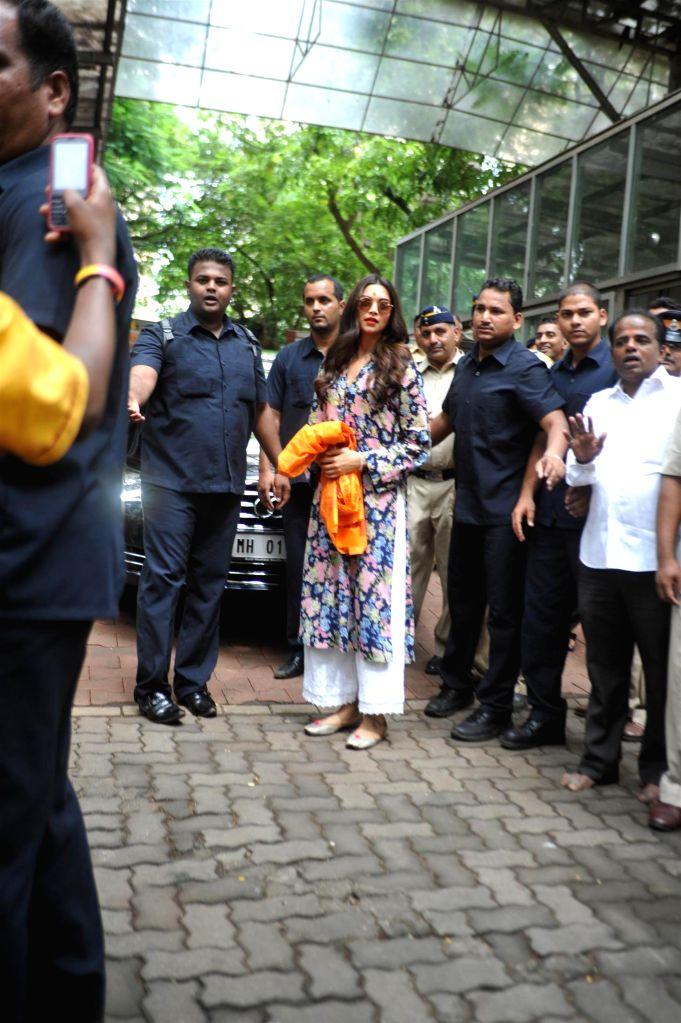 Actress Deepika Padukone visits Siddhivinayak Temple to seek blessings for film Finding Fanny success in Mumbai on Sept 12, 2014.