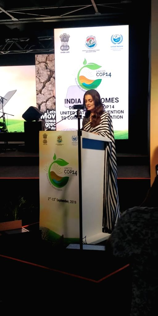 Actress Dia Mirza addresses during the 14th Conference of Parties (COP14) to United Nations Convention to Combat Desertification (UNCCD) in Greater Noida, Uttar Pradesh on Sept. 9, 2019. - Dia Mirza