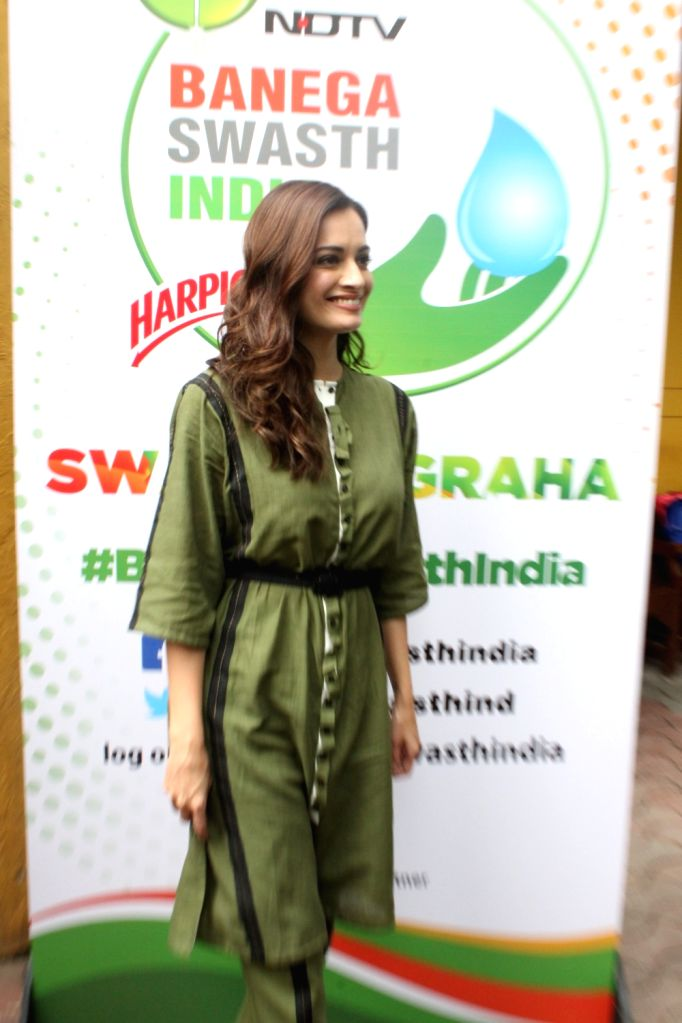 """Actress Dia Mirza during a programme organised as a part of """"Banega Swachh India"""" campaign in Mumbai on Oct 1, 2019. - Dia Mirza"""