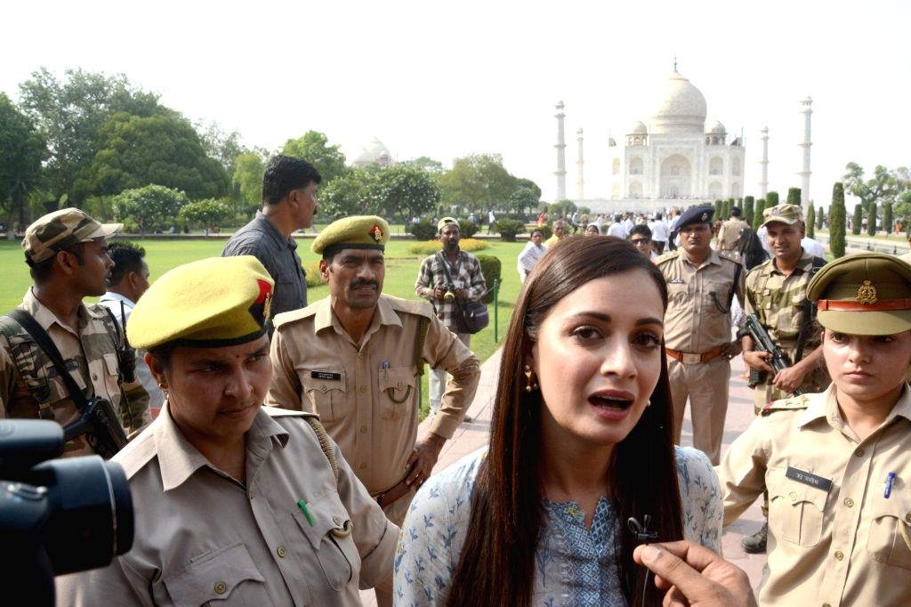Actress Dia Mirza during her visit to the Taj Mahal in Agra on June 3, 2018. - Dia Mirza