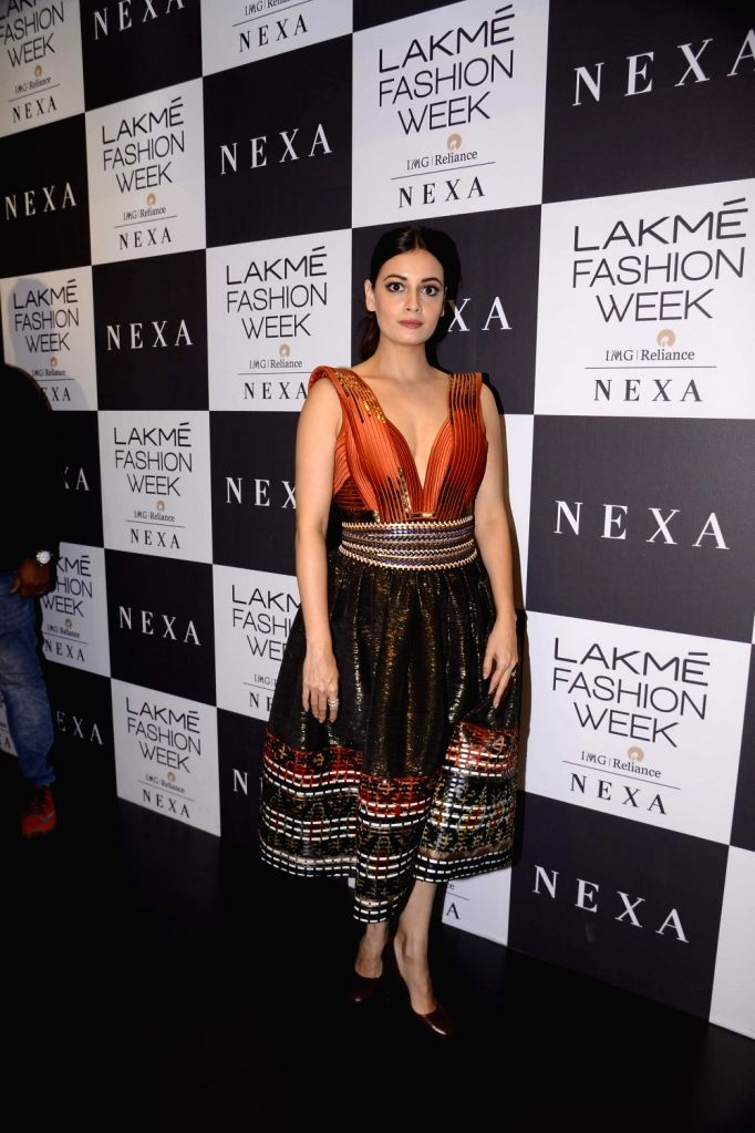 Actress Dia Mirza during the Lakme Fashion Week Winter/Festive 2017 in Mumbai on Aug 18, 2017. - Dia Mirza