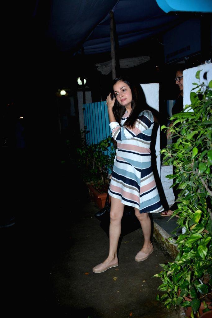 Actress Dia Mirza seen at a salon in Khar, Mumbai on Aug 7, 2018. - Dia Mirza
