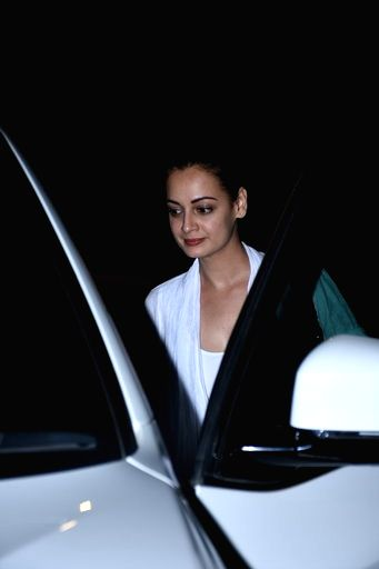Actress Dia Mirza seen at filmmaker Zoya Akhtar's residence in Mumbai's Bandra on March 16, 2020. - Dia Mirza