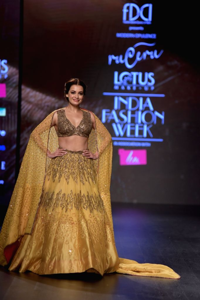 Actress Dia Mirza showcases a creation of fashion designer Ruceru on the third day of Lotus India Fashion Week in New Delhi, on March 15, 2019. - Dia Mirza
